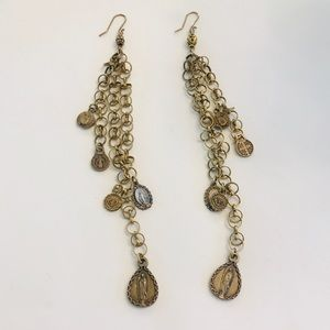 Jewelry - 3 for $10 / Gold Chain Earrings w. detailed charms